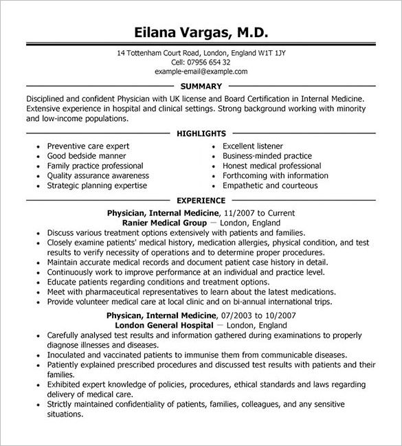 Image result for physician cv cv Resume format download, Free