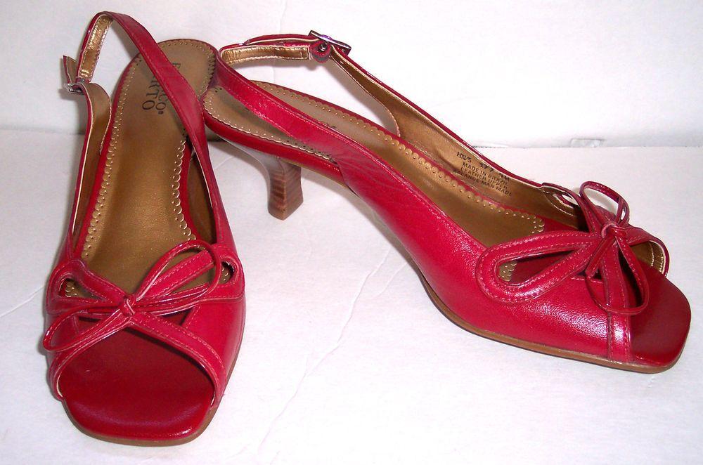 de286d0a6b7 Franco Sarto Shoes 9 M Red Leather Open Toe Sling Back Bow Vamp Low Heel  Sandals  FrancoSarto  Slingbacks