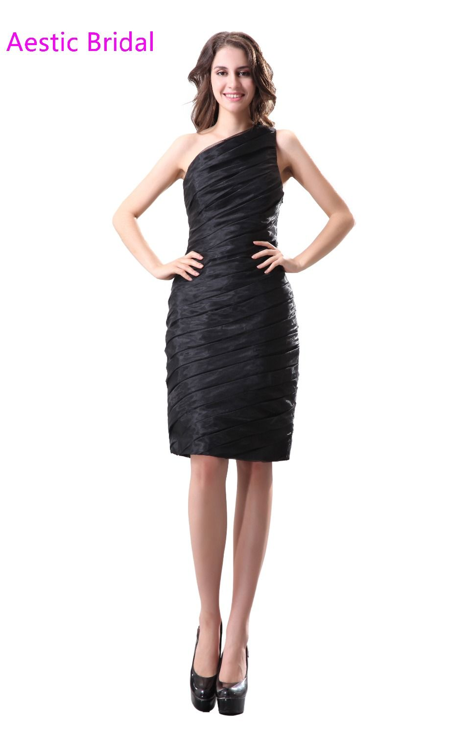 a906e7995 Click to Buy    Knee Length Organza Cocktail Dress One Shoulder Black Party