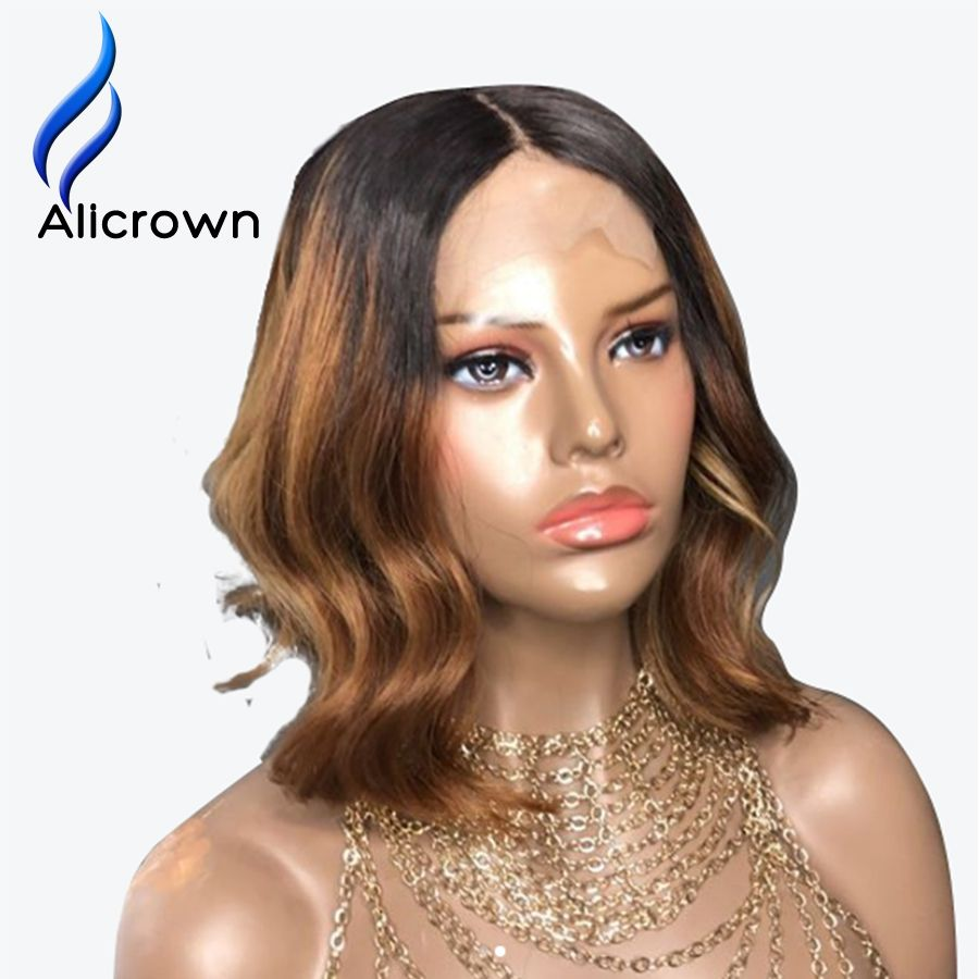 Alicrown ombre color short bob lace front human hair wigs body wave