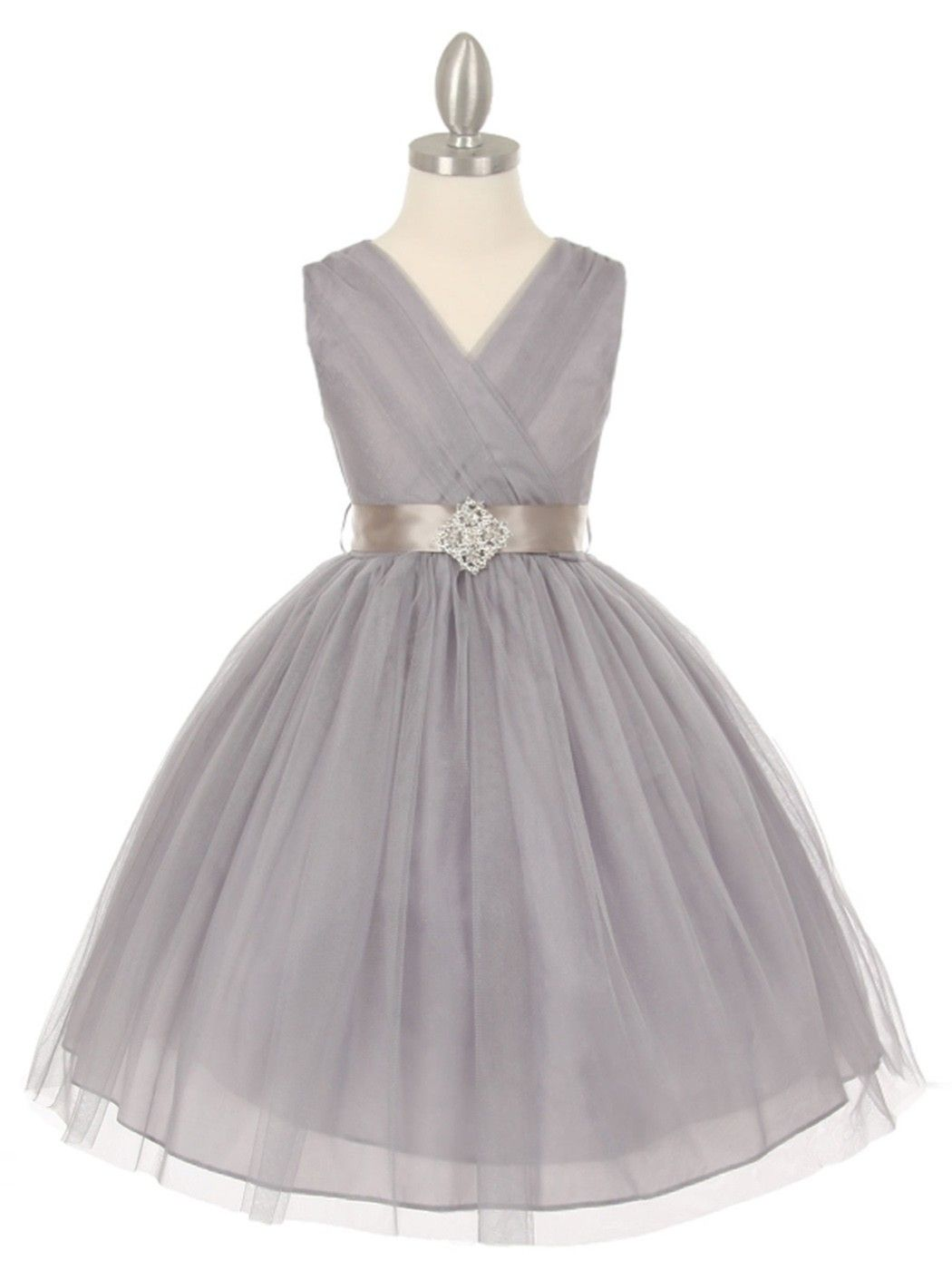 Silver Tulle V Neck with Rhinestone Brooch Flower Girl Dress Available in Si