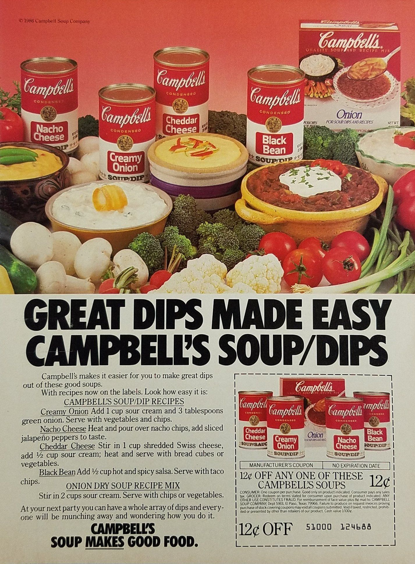 1986 Campbell S Soup Vintage Ad Easy Dip Recipes Food