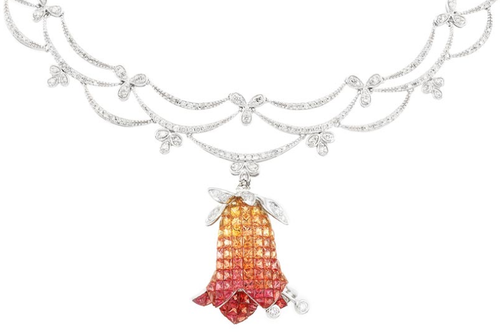 White Gold, Diamond and Invisibly-Set Multicolored Orange and Yellow Sapphire Pendant-Necklace.  14 kt., ap. 14 dwts. Length 18 inches. Via Doyle New York.