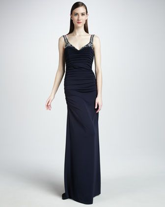 Beaded Jersey Gown by Badgley Mischka Collection at Neiman Marcus.