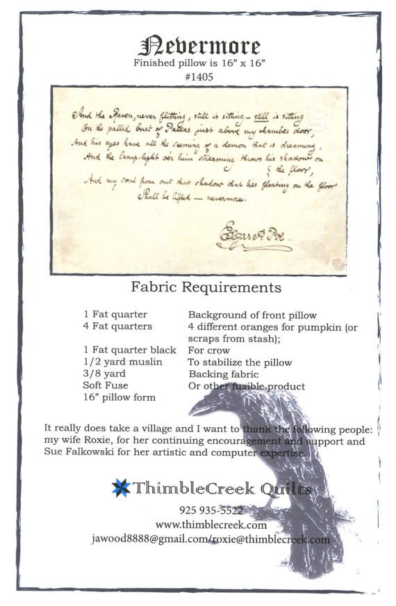 PATTERN NEVERMORE Pillow Pattern - #1405 - by ThimbleCreek Quilts