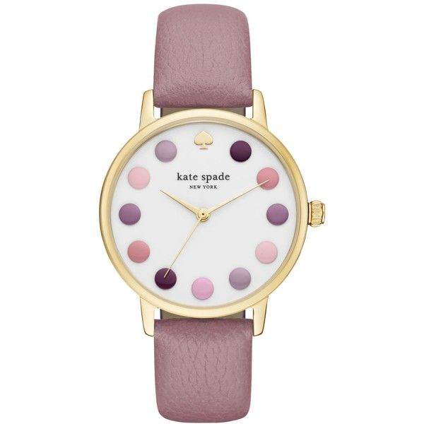 kate spade new york Women's Metro Pink Leather Strap Watch 34mm... ($195) ❤ liked on Polyvore featuring jewelry, watches, purple, purple jewelry, multi color jewelry, kate spade, multicolor jewelry and kate spade watches