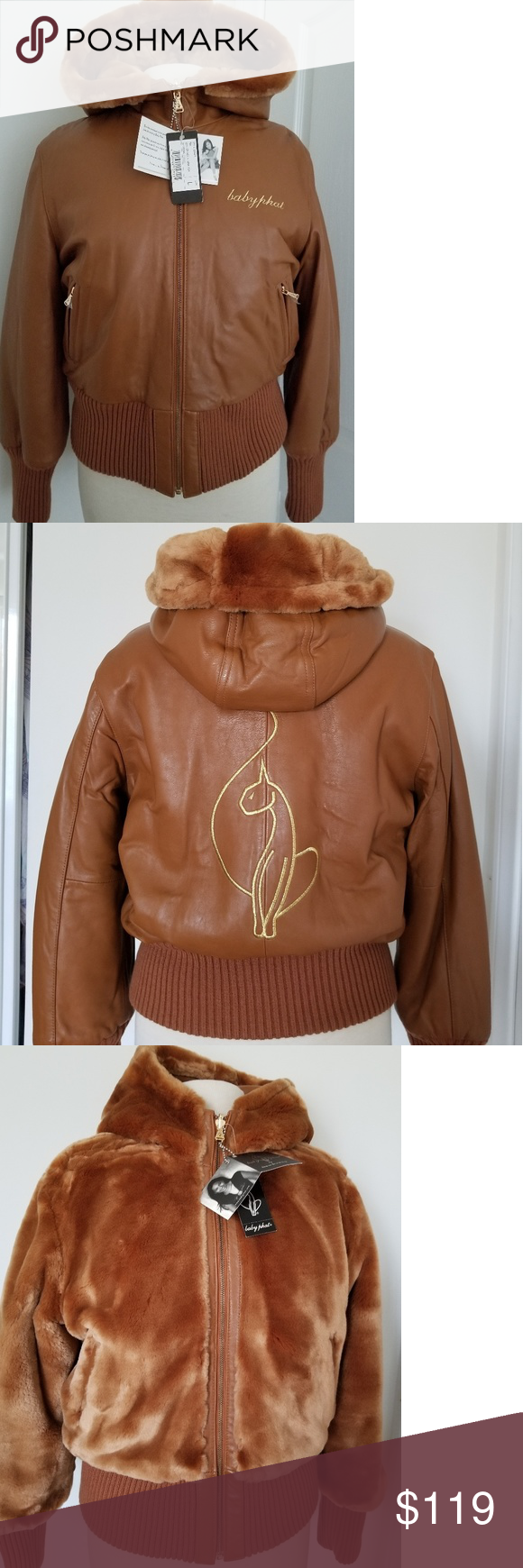 Baby Phat Reversible Brown Leather Jacket L Baby Phat