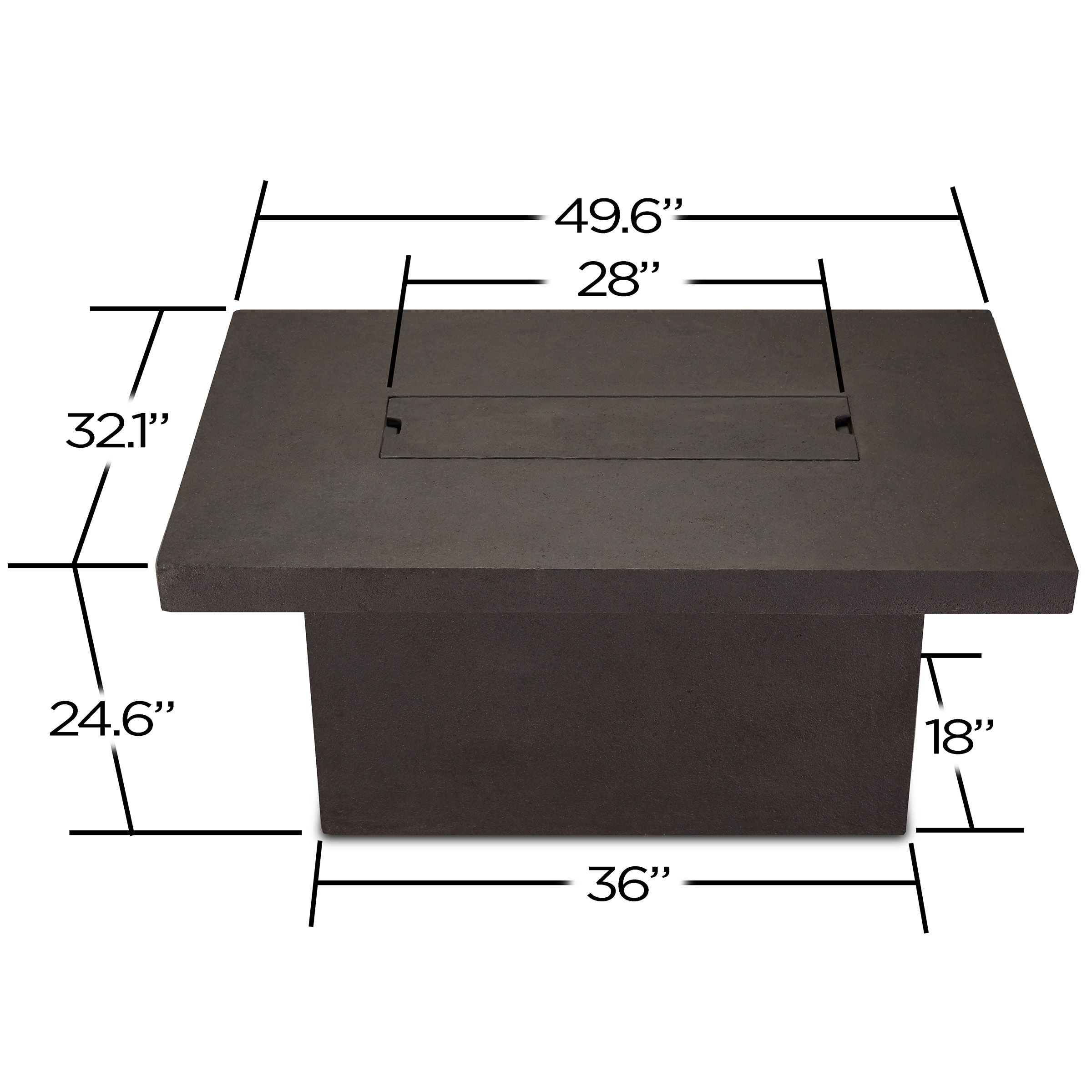 Ventura rectangle chat height fire table in kodiak brown fire