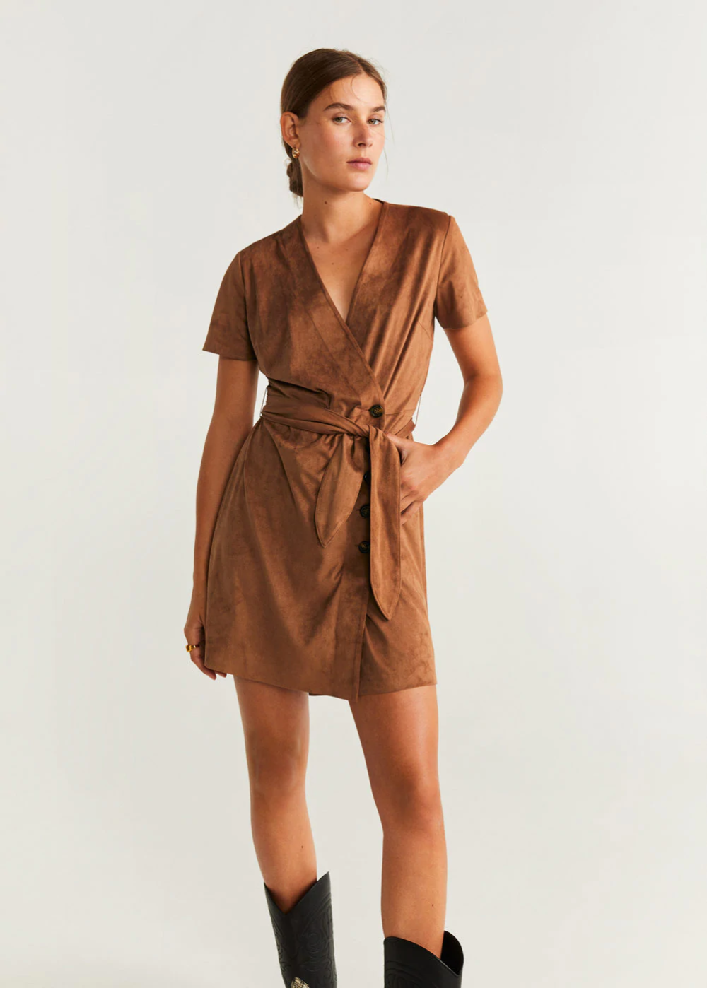 Buttoned bow dress in 2020 Dress with bow, Faux suede