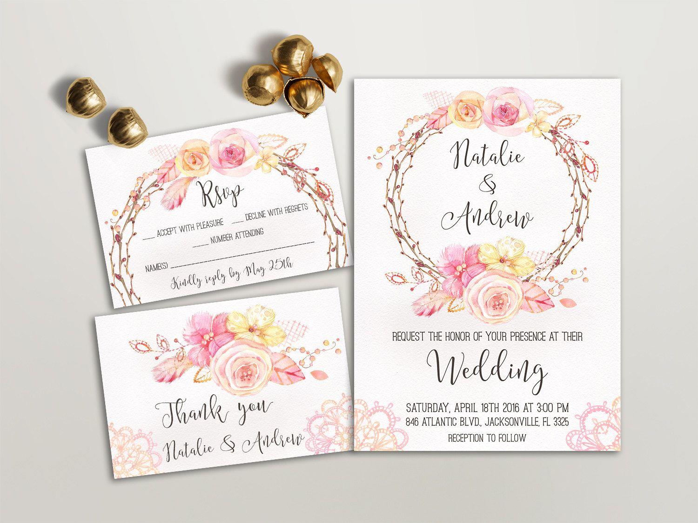 Spring Wedding Invitation, Pink Wedding Invitation Set, Floral ...