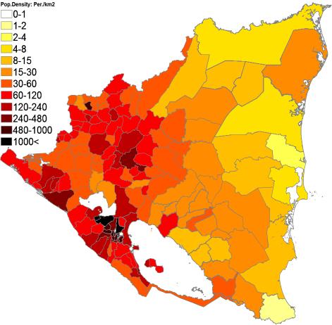 Population density administrative boundaries map of Nicaragua