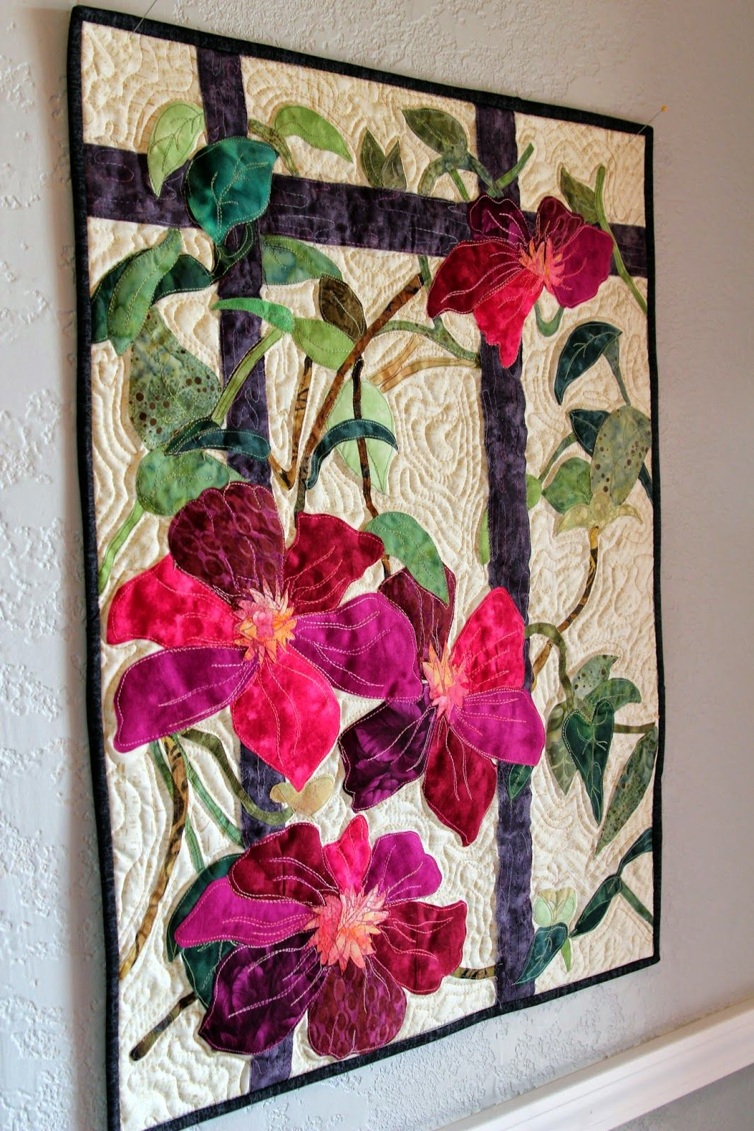 Celmatis Wall Hanging Art Quilts Flower Quilts Wall Quilts