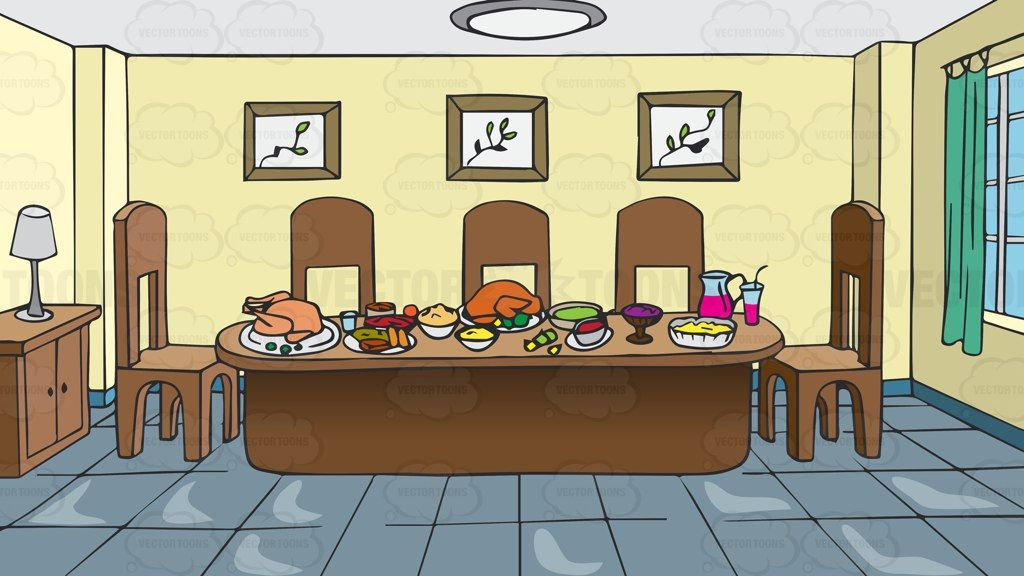 A Dining Room Table Full Of Food Background Cartoon Clipart Vector Vectortoons