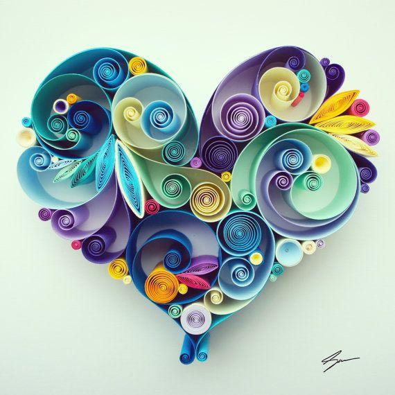Arte de papel tubulares: Por tu amor por SenaRuna en Etsy