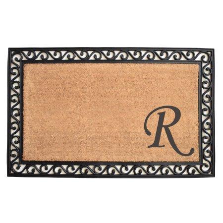 Calloway Mills Versailles Monogram Outdoor Doormat 22 Inch X 36 Inch Letter R Size 22 Inch X 36 Inch Black Monogram Versailles Monogram Letters