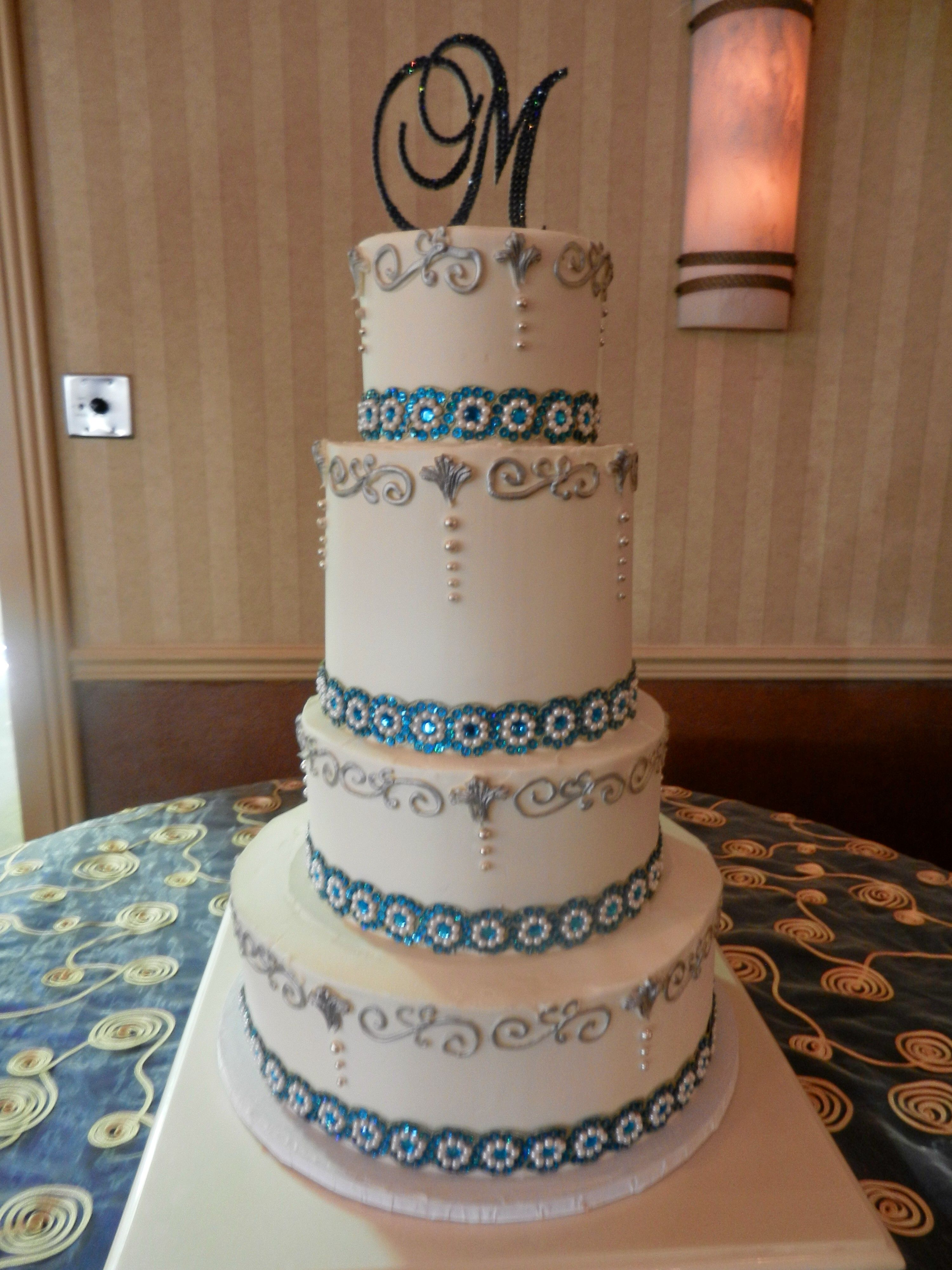 Cheesecakeetcbiz Wedding Cakes Charlotte NC Turquoise And Silver Cake