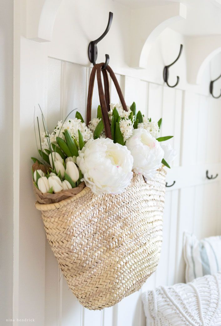 Attractive Spring Mudroom Decor | Beautiful Flowers In A French Market Basket Wait To  Be Arranged On Amazing Ideas