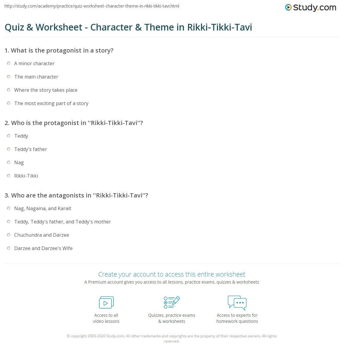 Rikki Tikki Tavi Worksheets Answers Quiz Worksheet Character Theme In Rikki T Translating Algebraic Expressions Reading Comprehension Worksheets Worksheets