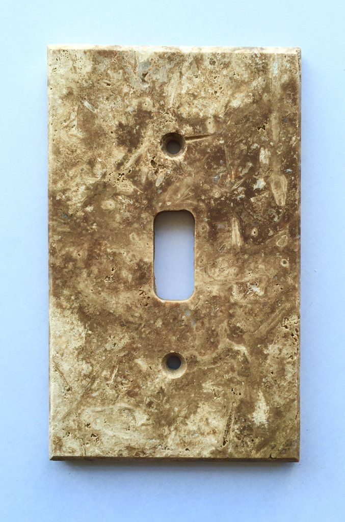 Dark Walnut Travertine Single Toggle Switch Wall Plate / Switch Plate /  Cover   Honed