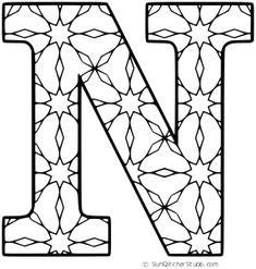 Free Printable Alphabet Coloring Letter N With Pattern For Kids And Adults Alphabet Printables Alphabet Coloring Pages Coloring Letters