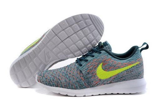 free shipping 1bb02 de4bf Mens Nike Flyknit Roshe Run Jade Green And Orange Online Shop