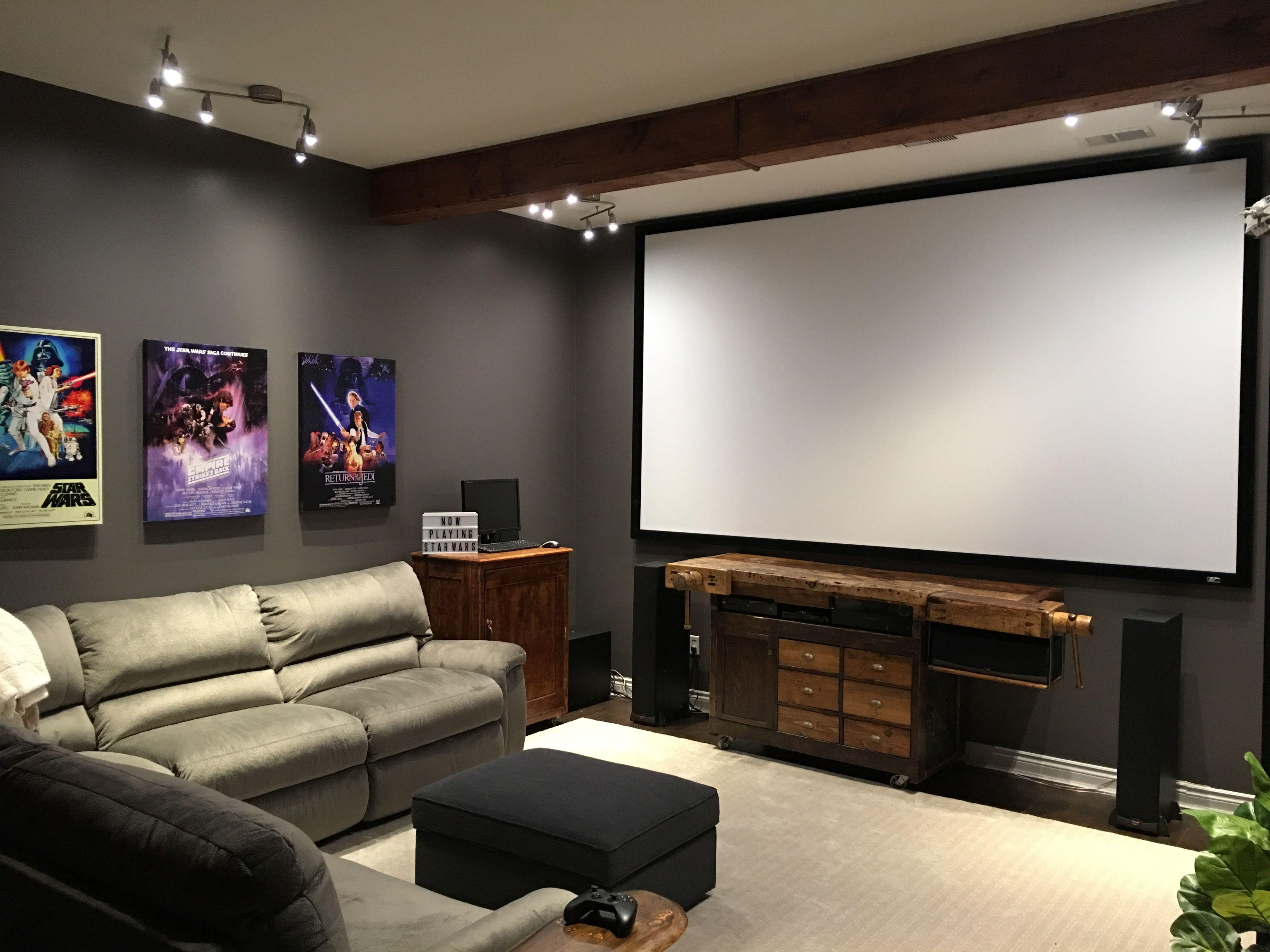 "150"" screen. Custom entertainment centre. Star Wars theme."