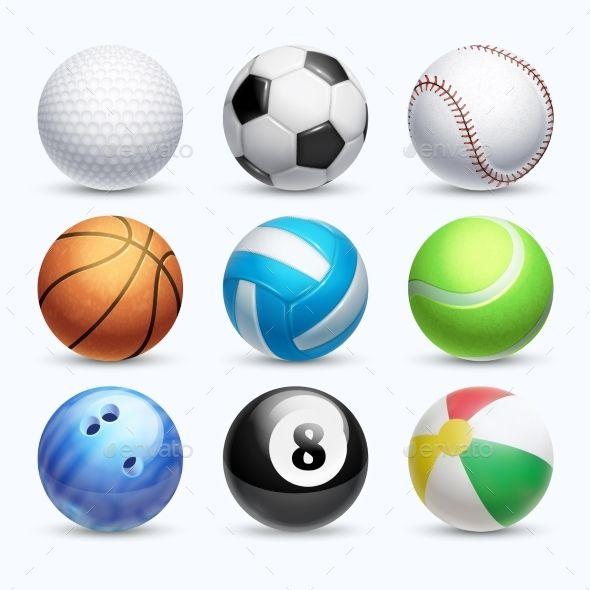 Realistic Sports Balls Vector Set Typography Design Graphic Design Game Illustration