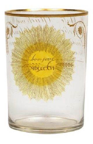 Ranftbecher.Anton Kothgasser Vienna c. 1816 Ground clear glass, partially glazed yellow, colored painted