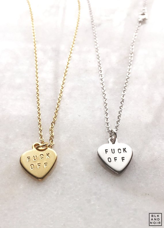 9fe8529683 F-ck Off Heart Necklace Valentine's Day f word Custom personalize curse  words cuss profanity mature