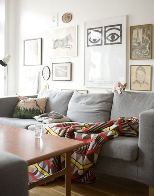 Gray couch, patterned throw HH FAMILY ROOM Pinterest Grey