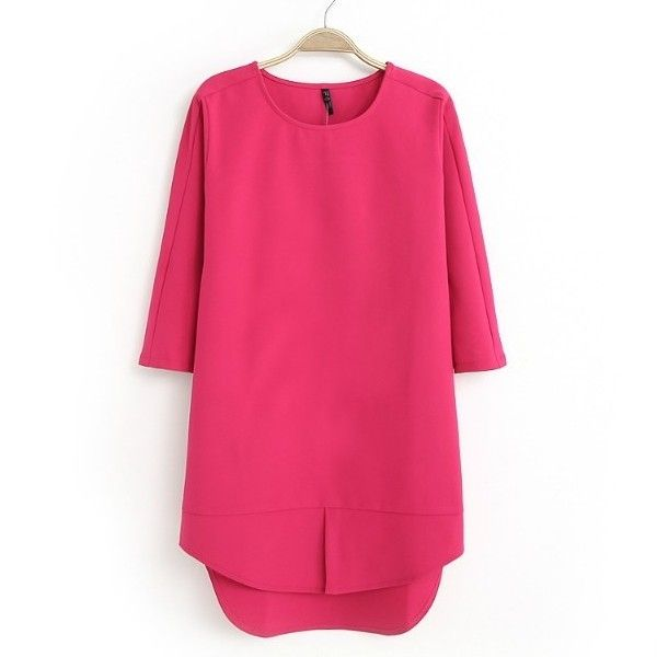 Solid Color Irregular Shape O-Neck Three Quarters Sleeve Dress