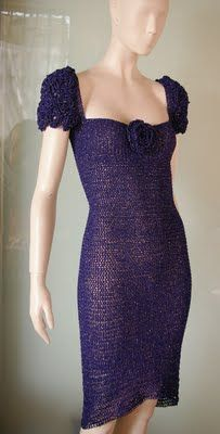 crochetmestres crochetmes3: Vestido azul con lamé