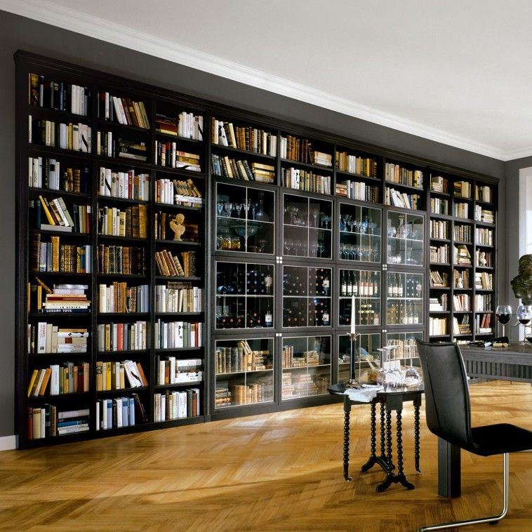 Furniture Large Black Wooden Library Bookshelves With Many Racks On Brown Wooden Floor Enchanting Diy L Home Library Rooms Home Library Design Home Libraries