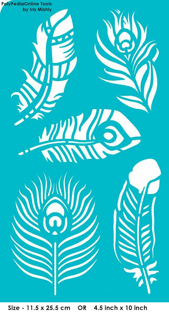 Stencil Stencils Peacock Feather Pattern Template, Reusable ...