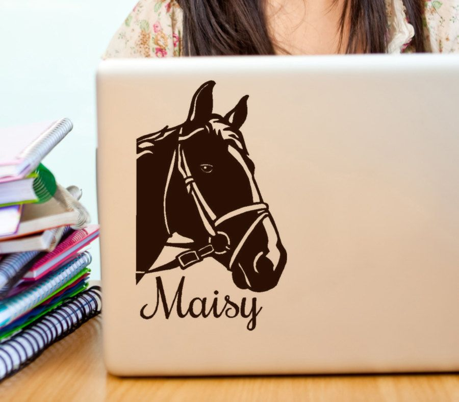 Custom Horse Name Vinyl Decal For Pet Owners Ipad Macbook - Custom vinyl decals macbook
