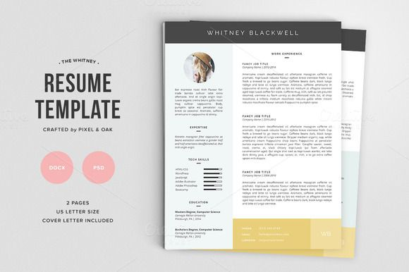 Free Resume Template  The Whitney Pk By Pixel  Oak On Creative