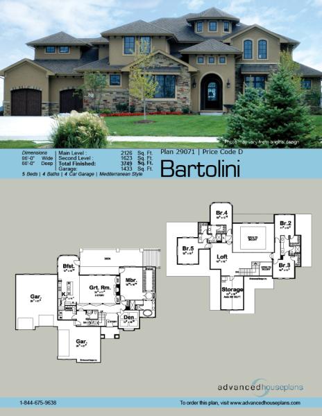 1 5 Story Mediterranean House Plan Bartolini Mediterranean House Plan Mediterranean House Plans Mediterranean Homes