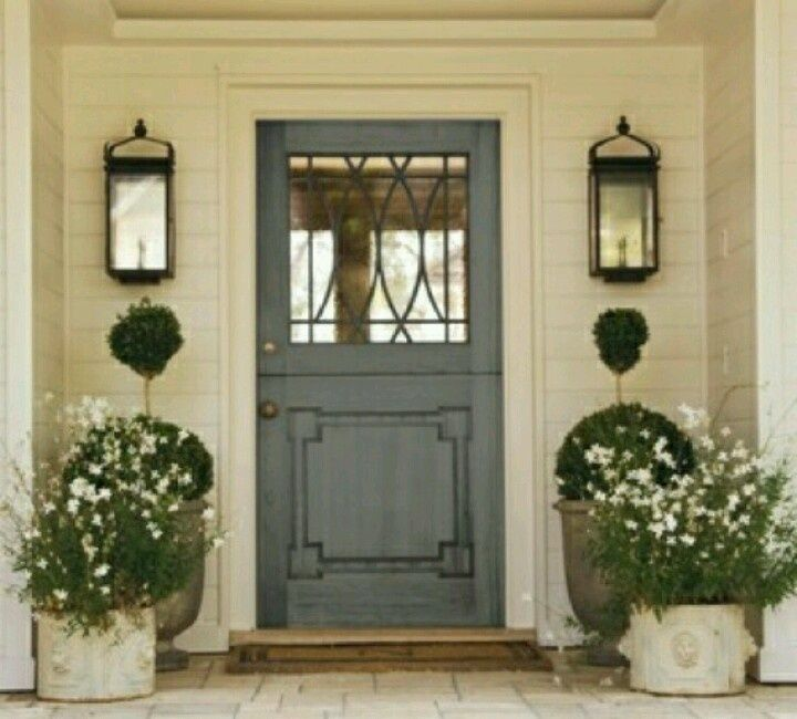 Pretty Gray Front Door On A White House Front Doors Pinterest