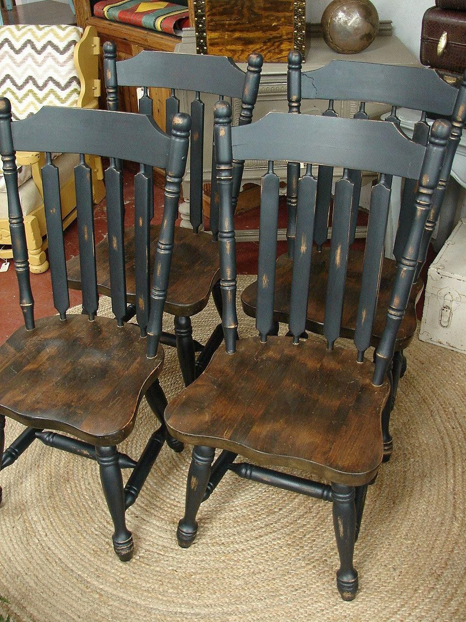 Reclaimed Vintage Black Paint Early American Set 4 Dining