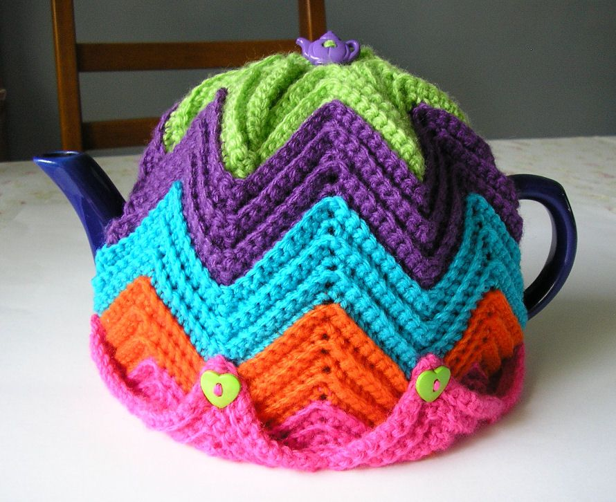 Justjen Knitsstitches Justjens Easy Ripple Tea Cosy Crochet
