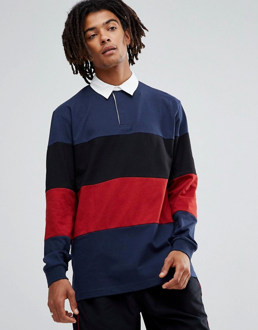 d8d34dfdac9 ASOS Longline Long Sleeve Rugby Polo Shirt With Color Block In Heavywe