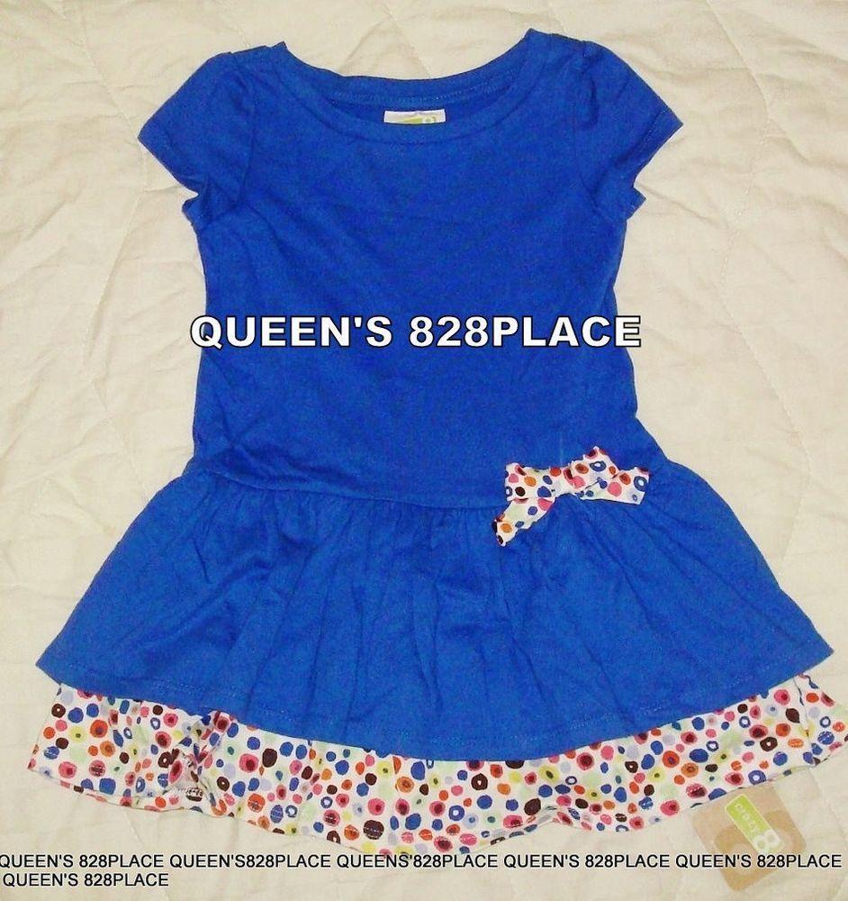 Nwt Crazy 8 girls size 18-24 months Blue Polka Dot Bow Dress Summer ...