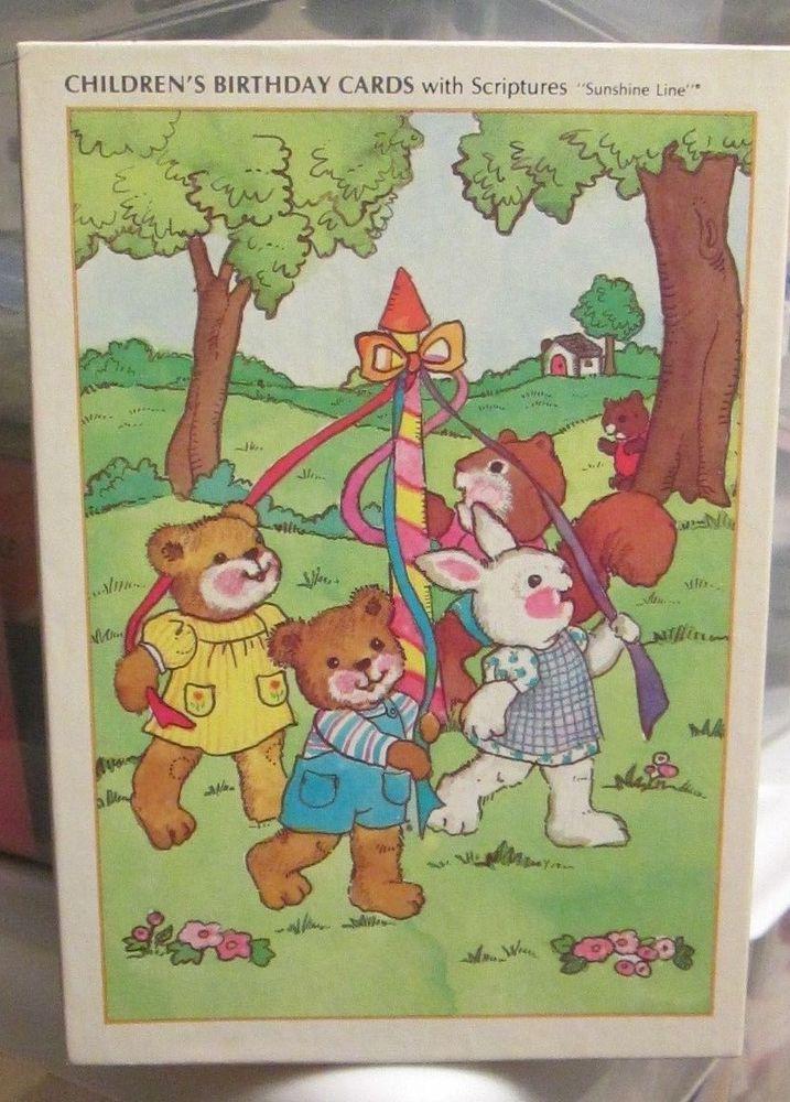 Vtg Unused Box 14 Sunshine Line Childrens Birthday Cards Scriptures