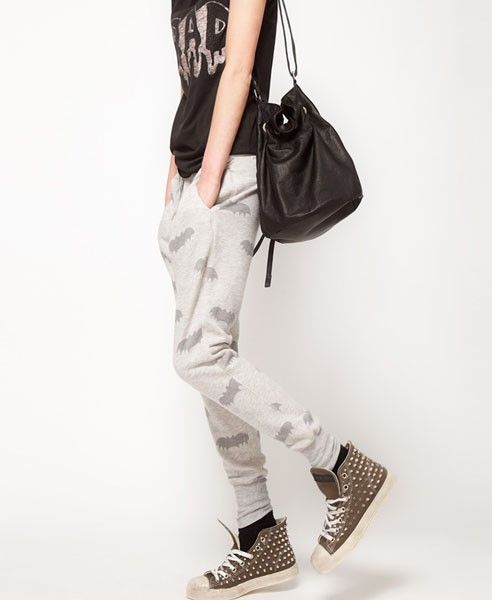 Gray Drawstring Waist Pants with Bat Print