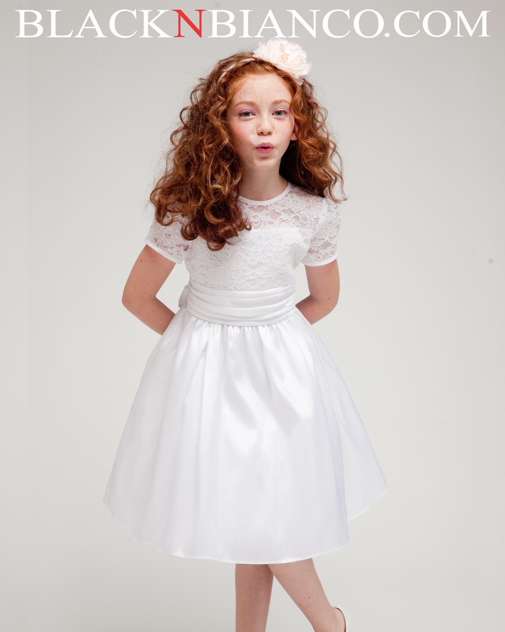 White Elegant Lace Sleeve Satin Girl Dress Girls Dresses Satin