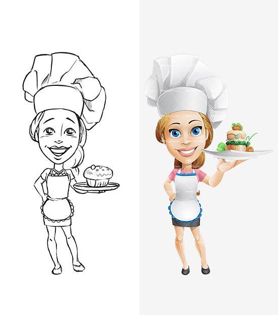 Cartoon Characters Female : Cooking girl cartoon character characters