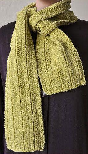 Cotton Chenille Mistake Rib Scarf Free Knit Scarf Pattern