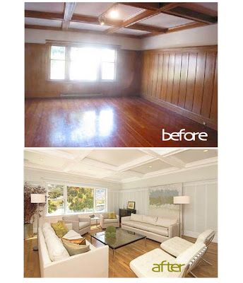 B B painted wood paneling before after Paneling