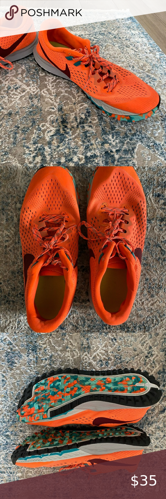 Orange Nike Shoes Black Background
