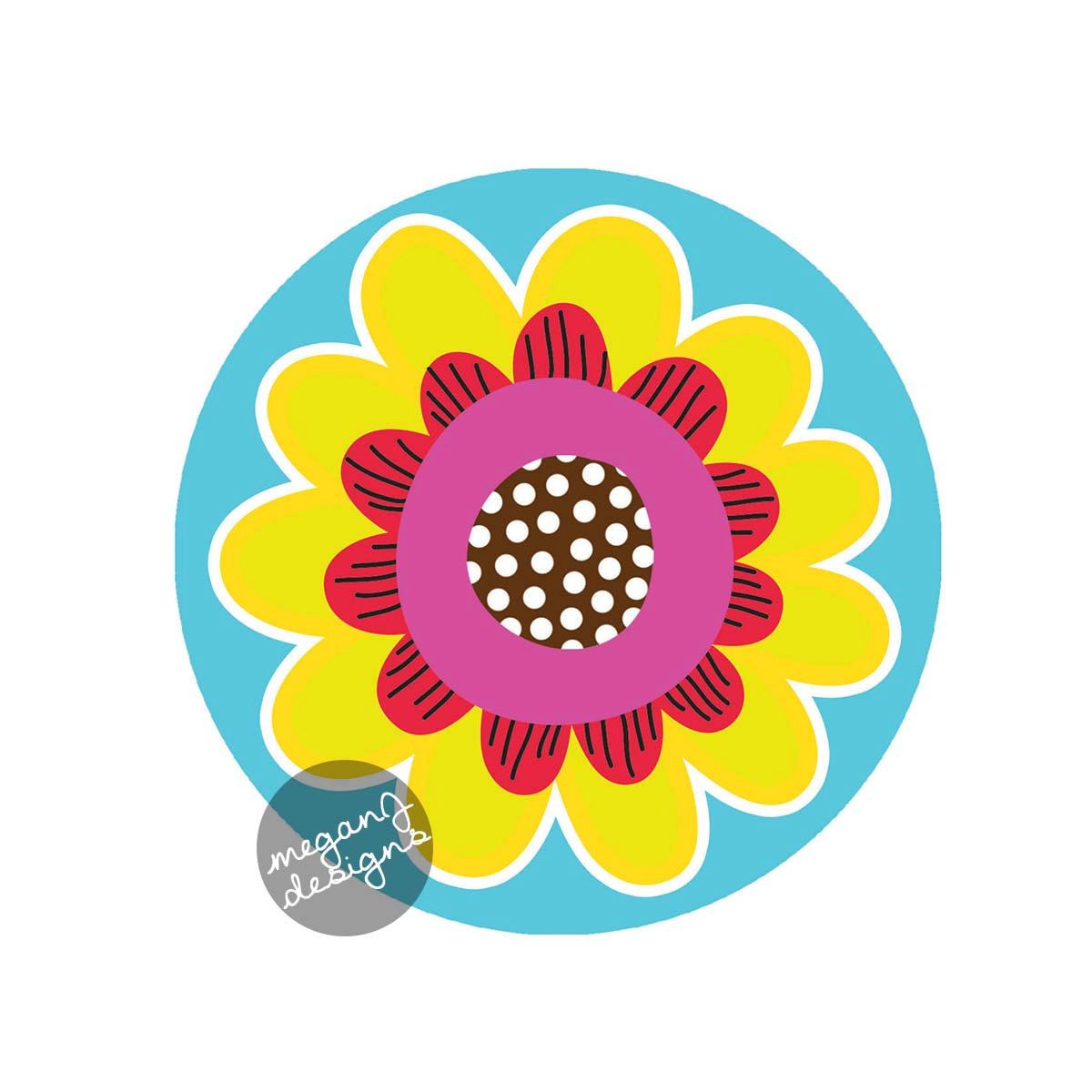 Flower Car Decal Cute Colorful Daisy Flower by MeganJDesigns